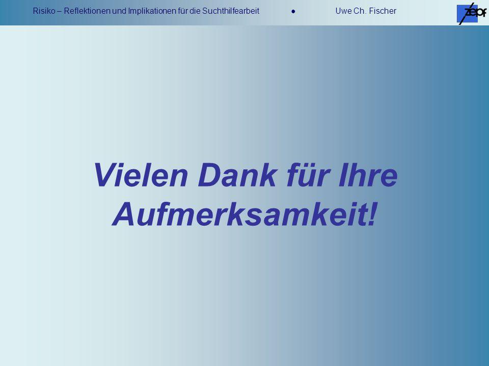 Risiko – Reflektionen und Implikationen für die Suchthilfearbeit Uwe Ch. Fischer Vielen Dank für Ihre Aufmerksamkeit!