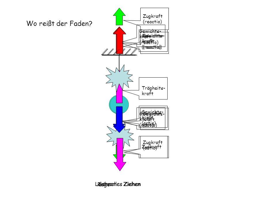 Langsames ZiehenSchnelles Ziehen Gewichts- kraft (actio) Gewichts- kraft (reactio) Gewichts- kraft (actio) Gewichts- kraft (reactio) Zugkraft (actio)