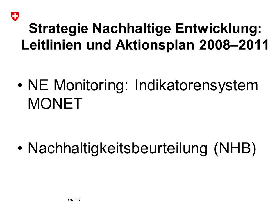 are I 2 NE Monitoring: Indikatorensystem MONET Nachhaltigkeitsbeurteilung (NHB) Strategie Nachhaltige Entwicklung: Leitlinien und Aktionsplan 2008–201
