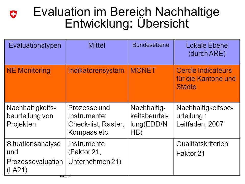 are I 3 Evaluation im Bereich Nachhaltige Entwicklung: Übersicht EvaluationstypenMittel Bundesebene Lokale Ebene (durch ARE) NE MonitoringIndikatorens