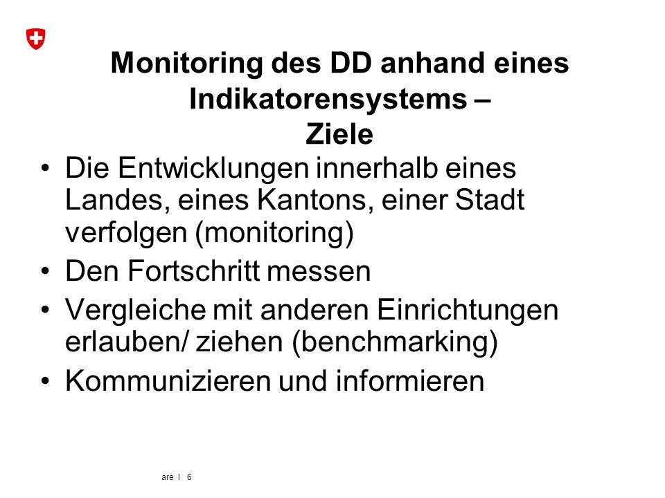 are I 6 Monitoring des DD anhand eines Indikatorensystems – Ziele Die Entwicklungen innerhalb eines Landes, eines Kantons, einer Stadt verfolgen (moni