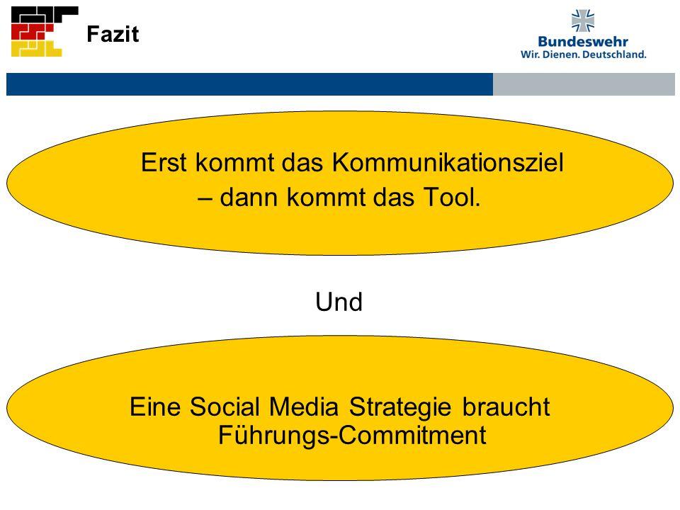Fazit Erst kommt das Kommunikationsziel – dann kommt das Tool. Und Eine Social Media Strategie braucht Führungs-Commitment