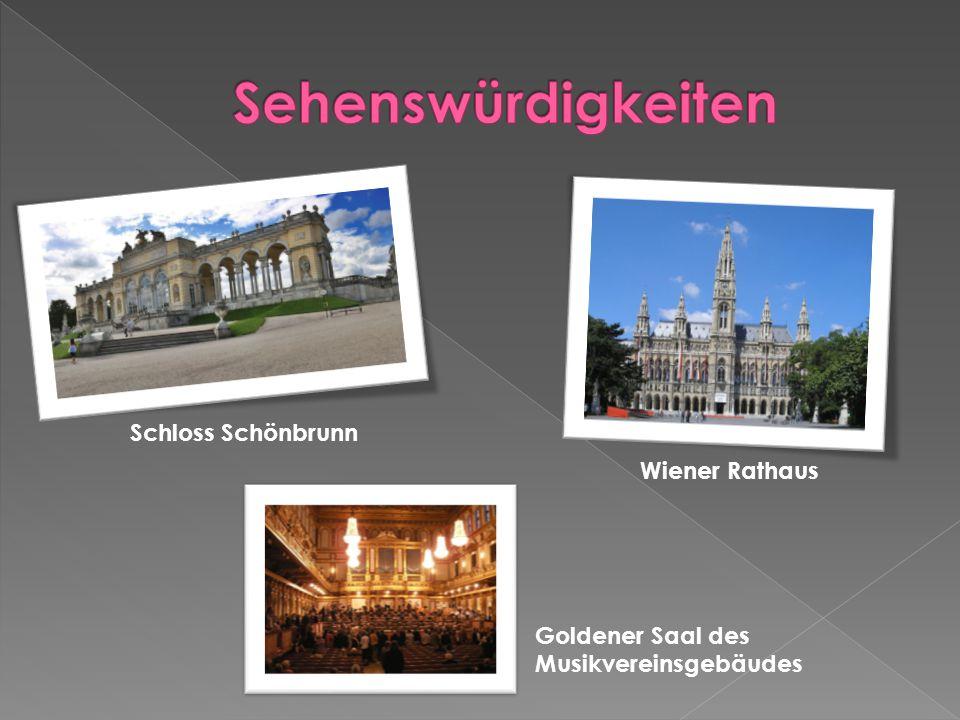 Schloss Schönbrunn Wiener Rathaus Goldener Saal des Musikvereinsgebäudes