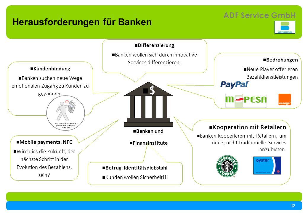12 ADF Service GmbH $ Banken und Finanzinstitute Kundenbindung Banken suchen neue Wege emotionalen Zugang zu Kunden zu gewinnen.