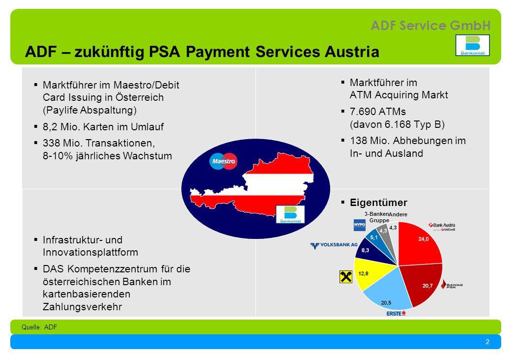 2 ADF Service GmbH ADF – zukünftig PSA Payment Services Austria Marktführer im Maestro/Debit Card Issuing in Österreich (Paylife Abspaltung) 8,2 Mio.