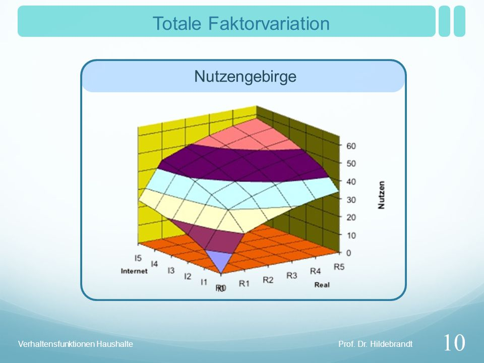 Prof. Dr. Hildebrandt Verhaltensfunktionen Haushalte Totale Faktorvariation 10 Nutzengebirge