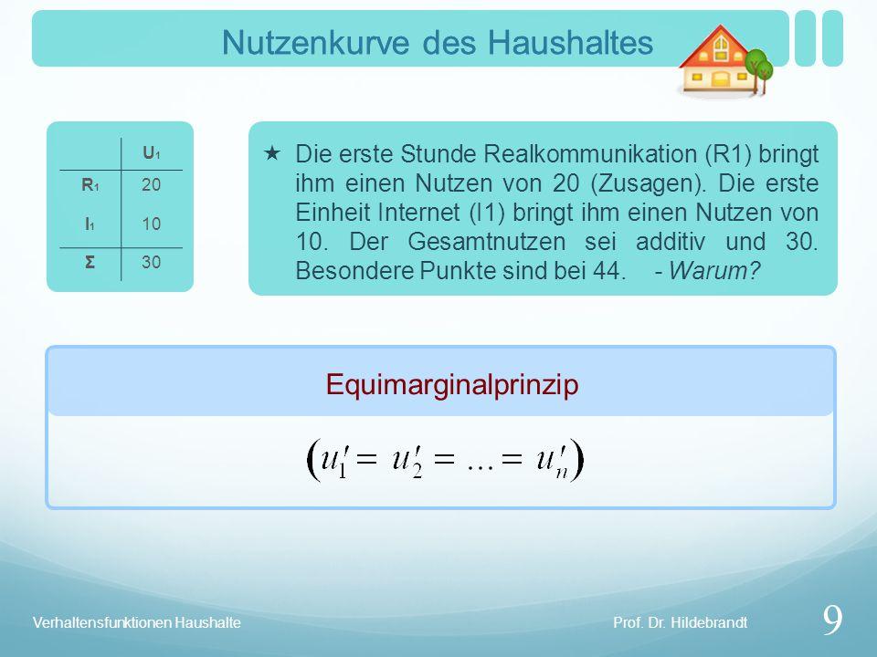 Prof. Dr. Hildebrandt Verhaltensfunktionen Haushalte Totale Faktorvariation 10 Nutzengebirge