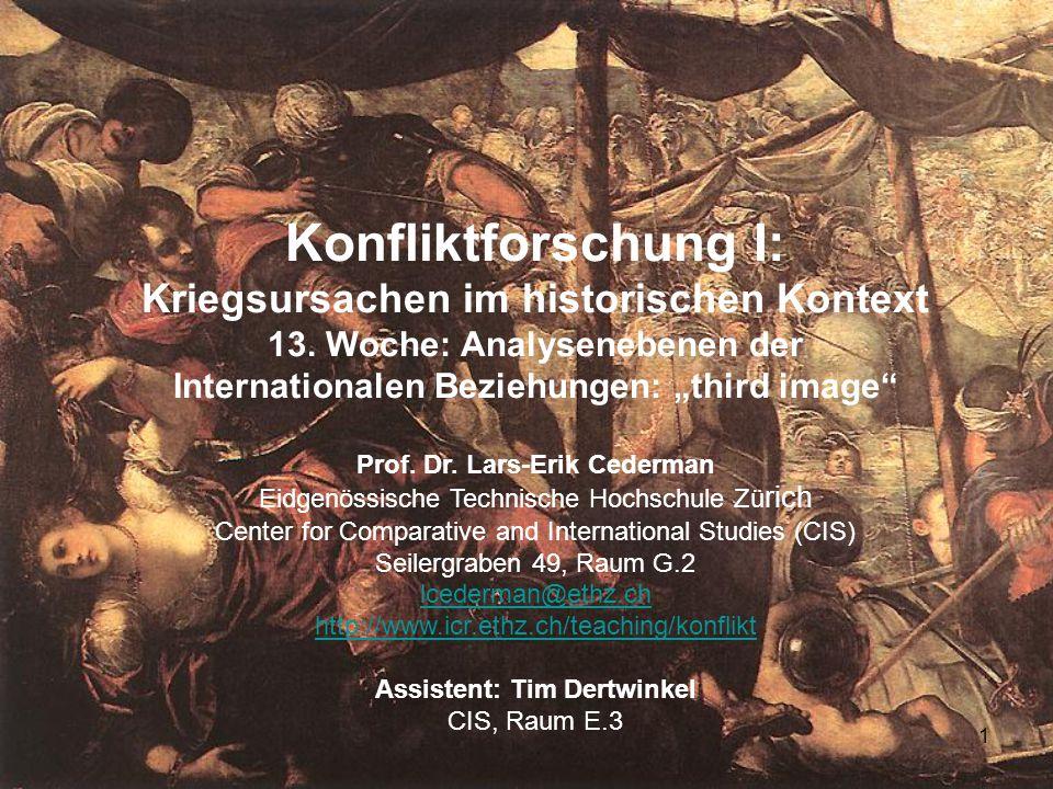 1 Konfliktforschung I: Kriegsursachen im historischen Kontext 13. Woche: Analysenebenen der Internationalen Beziehungen: third image Prof. Dr. Lars-Er