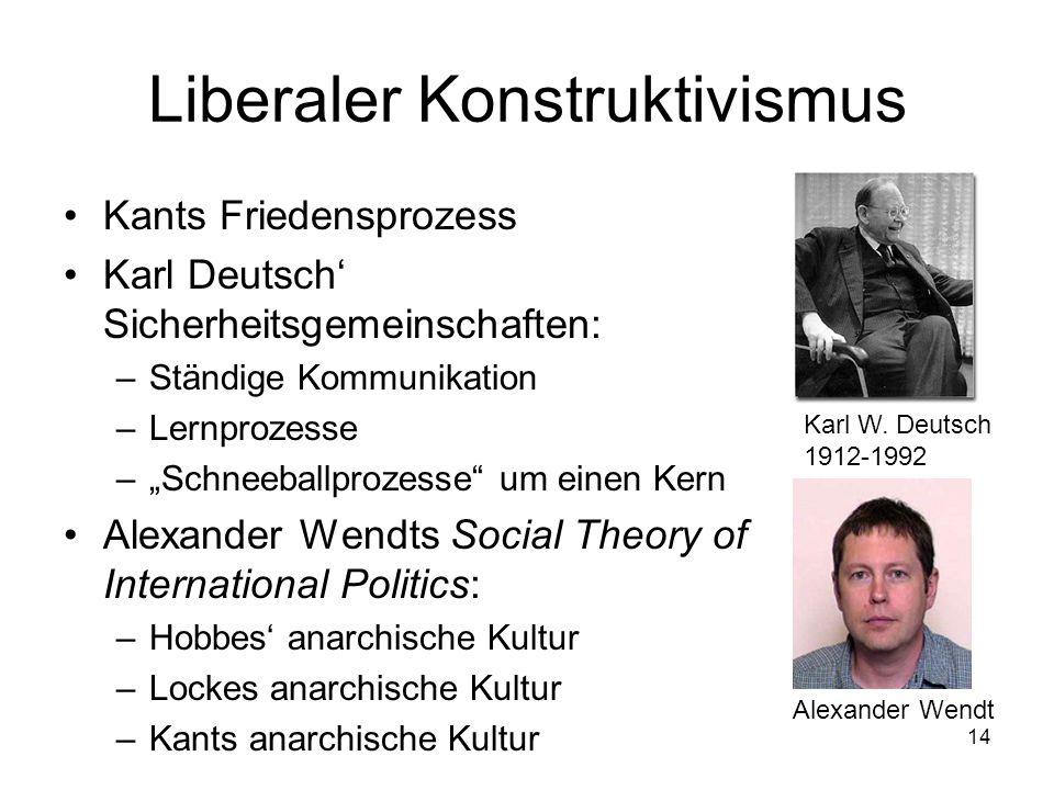 14 Liberaler Konstruktivismus Kants Friedensprozess Karl Deutsch Sicherheitsgemeinschaften: –Ständige Kommunikation –Lernprozesse –Schneeballprozesse