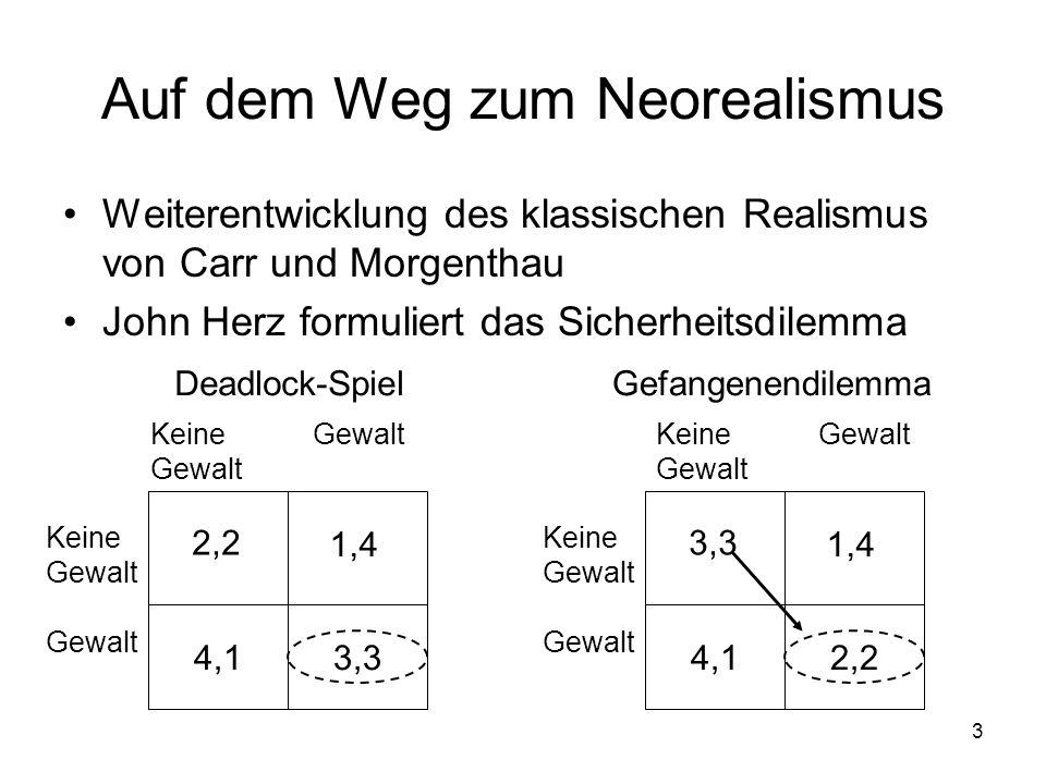 3 Auf dem Weg zum Neorealismus Weiterentwicklung des klassischen Realismus von Carr und Morgenthau John Herz formuliert das Sicherheitsdilemma Keine G