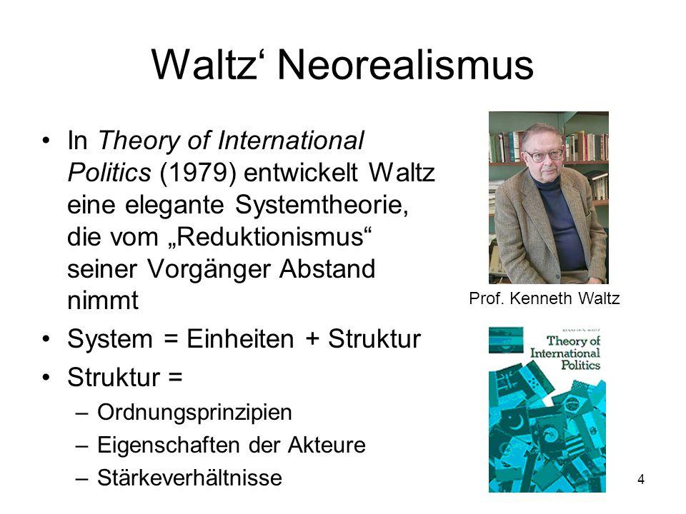 4 Waltz Neorealismus In Theory of International Politics (1979) entwickelt Waltz eine elegante Systemtheorie, die vom Reduktionismus seiner Vorgänger