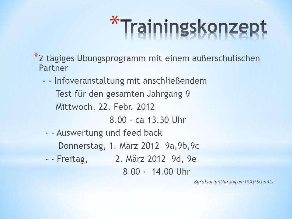 * 2 tägiges Übungsprogramm mit einem außerschulischen Partner - - Infoveranstaltung mit anschließendem Test für den gesamten Jahrgang 9 Mittwoch, 22.