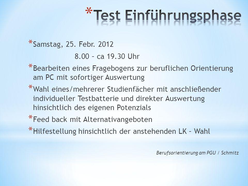 * Samstag, 25. Febr. 2012 8.00 – ca 19.30 Uhr * Bearbeiten eines Fragebogens zur beruflichen Orientierung am PC mit sofortiger Auswertung * Wahl eines