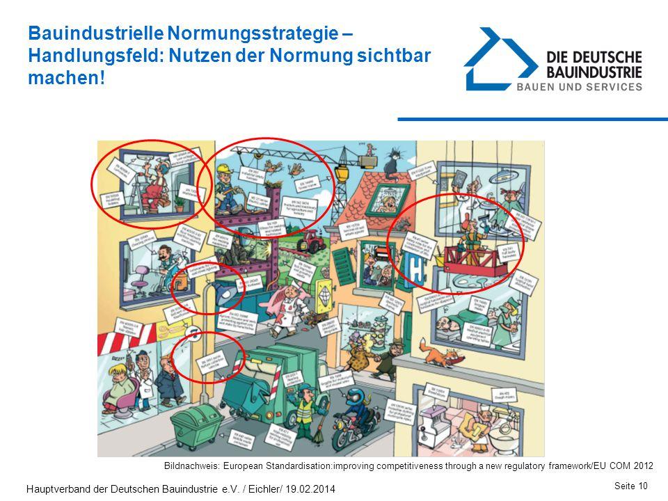 Bauindustrielle Normungsstrategie – Handlungsfeld: Nutzen der Normung sichtbar machen! Seite 10 Bildnachweis: European Standardisation:improving compe