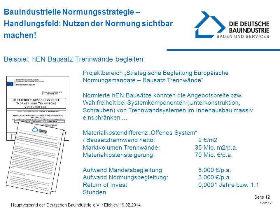Seite 12 Bauindustrielle Normungsstrategie – Handlungsfeld: Nutzen der Normung sichtbar machen! Beispiel: hEN Bausatz Trennwände begleiten Projektbere