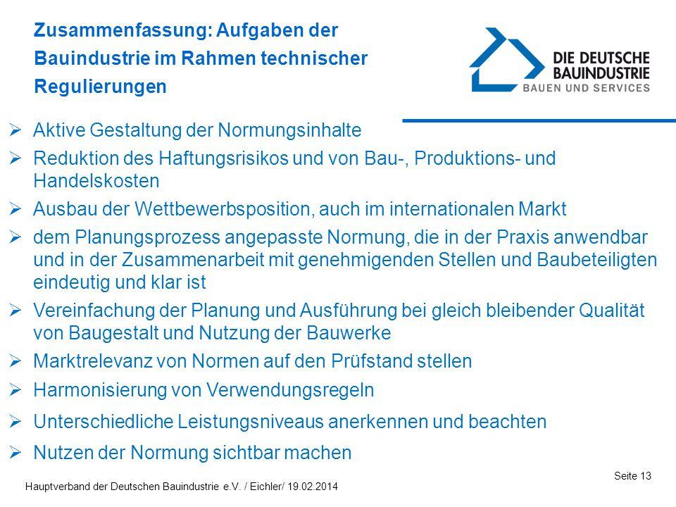 Seite 13 Aktive Gestaltung der Normungsinhalte Reduktion des Haftungsrisikos und von Bau-, Produktions- und Handelskosten Ausbau der Wettbewerbspositi