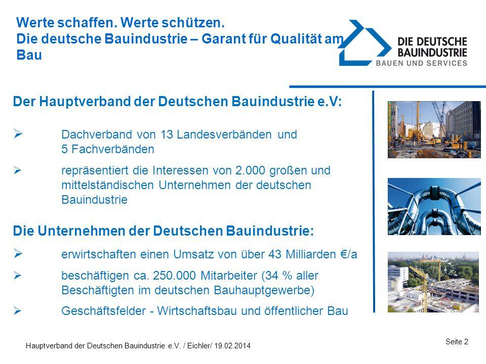 Hauptverband der Deutschen Bauindustrie e.V. / Eichler/ 19.02.2014 Seite 2 Der Hauptverband der Deutschen Bauindustrie e.V: Dachverband von 13 Landesv