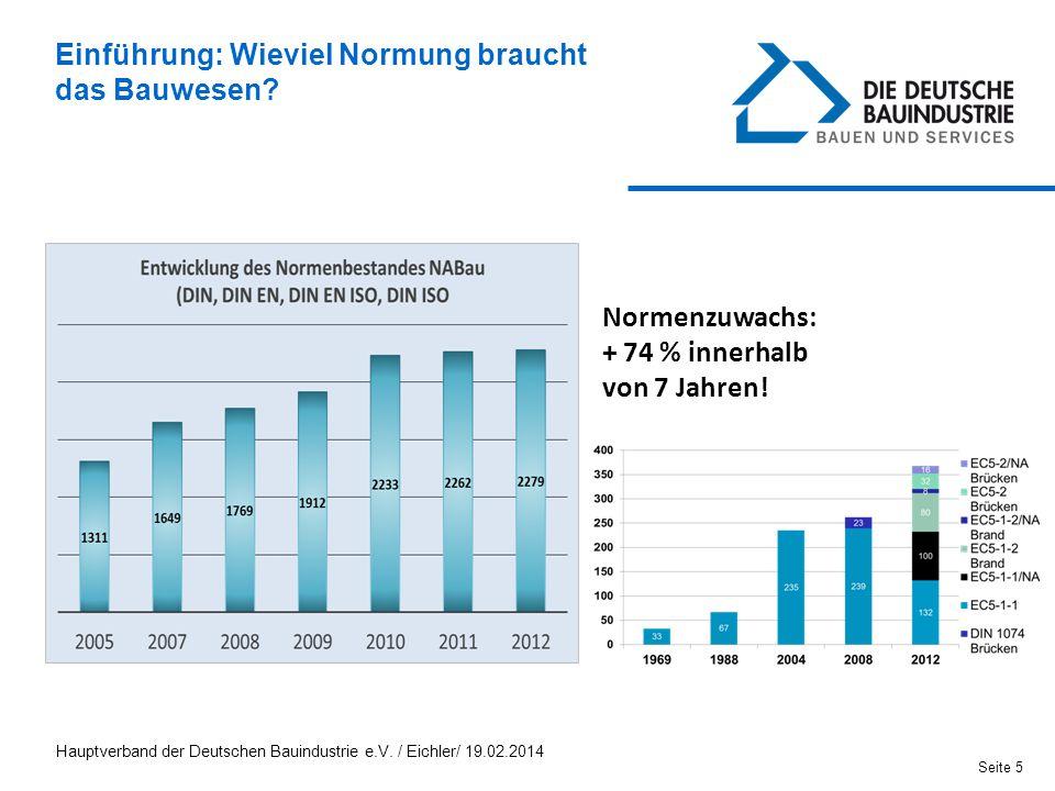 Normenzuwachs: + 74 % innerhalb von 7 Jahren! Einführung: Wieviel Normung braucht das Bauwesen? Seite 5 Hauptverband der Deutschen Bauindustrie e.V. /
