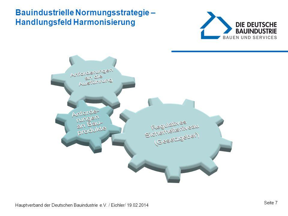 Hauptverband der Deutschen Bauindustrie e.V. / Eichler/ 19.02.2014 Seite 7 Bauindustrielle Normungsstrategie – Handlungsfeld Harmonisierung
