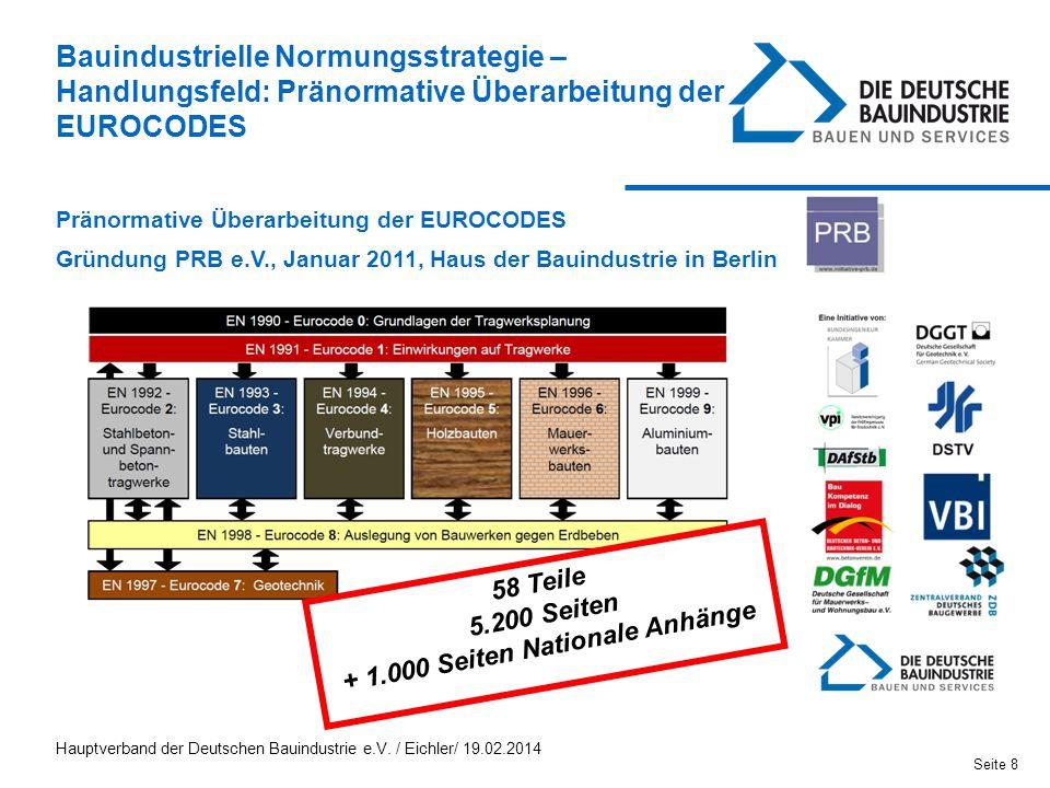 Pränormative Überarbeitung der EUROCODES Gründung PRB e.V., Januar 2011, Haus der Bauindustrie in Berlin 58 Teile 5.200 Seiten + 1.000 Seiten National