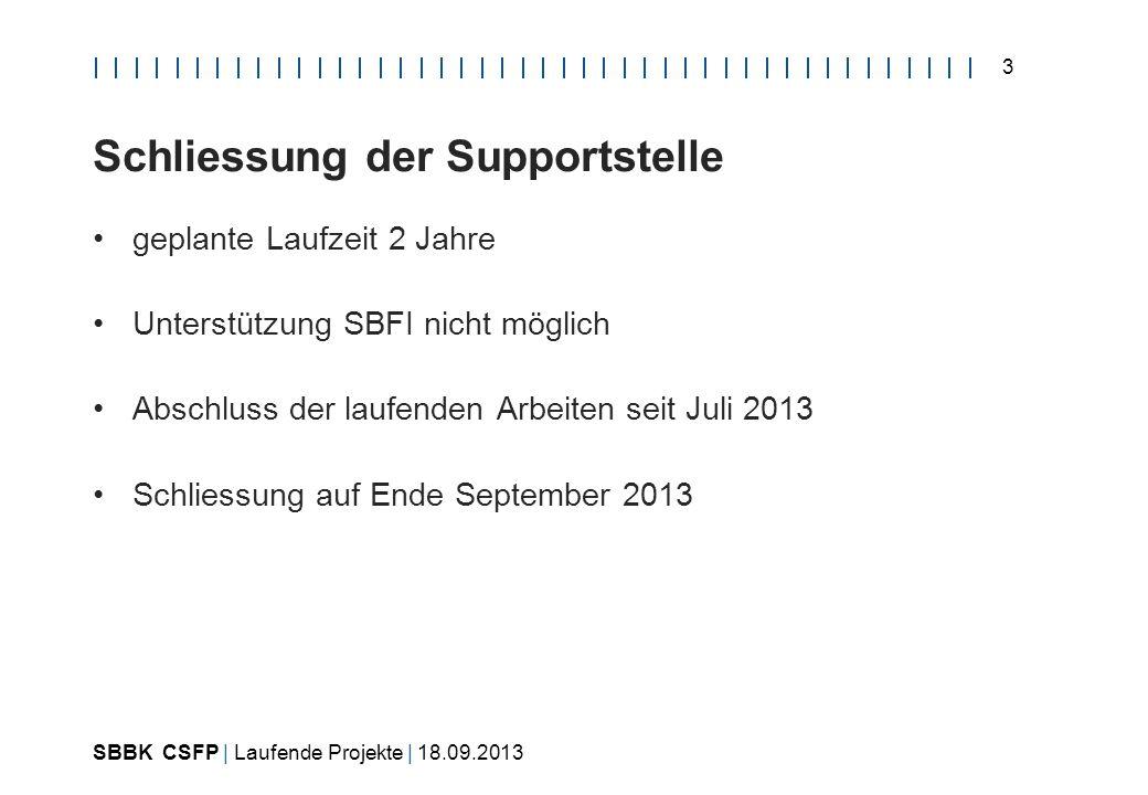 SBBK CSFP | Laufende Projekte | 18.09.2013 3 Schliessung der Supportstelle geplante Laufzeit 2 Jahre Unterstützung SBFI nicht möglich Abschluss der laufenden Arbeiten seit Juli 2013 Schliessung auf Ende September 2013