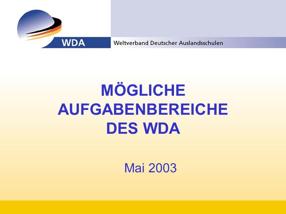 MÖGLICHE AUFGABENBEREICHE DES WDA Mai 2003