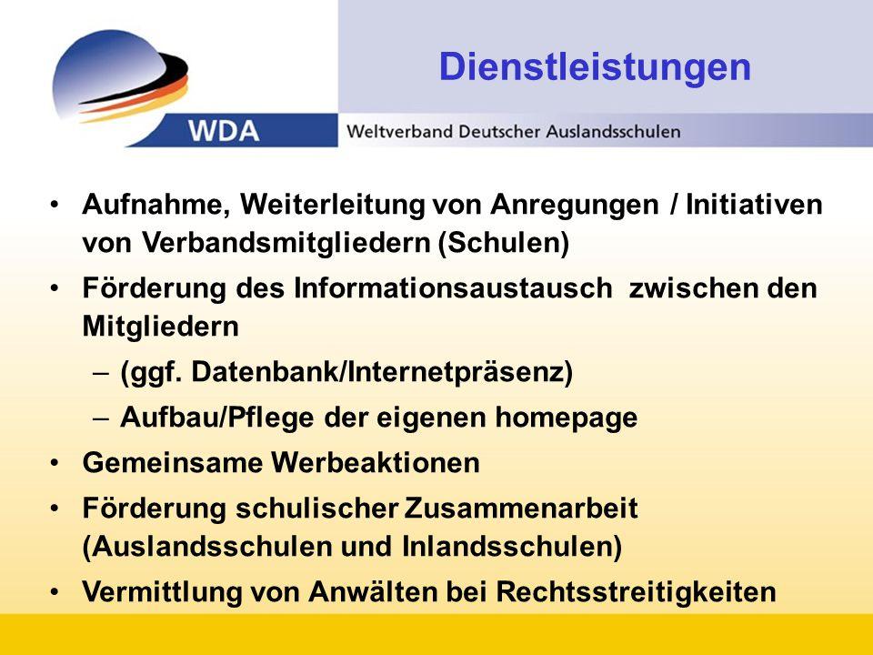 Aufnahme, Weiterleitung von Anregungen / Initiativen von Verbandsmitgliedern (Schulen) Förderung des Informationsaustausch zwischen den Mitgliedern –(ggf.