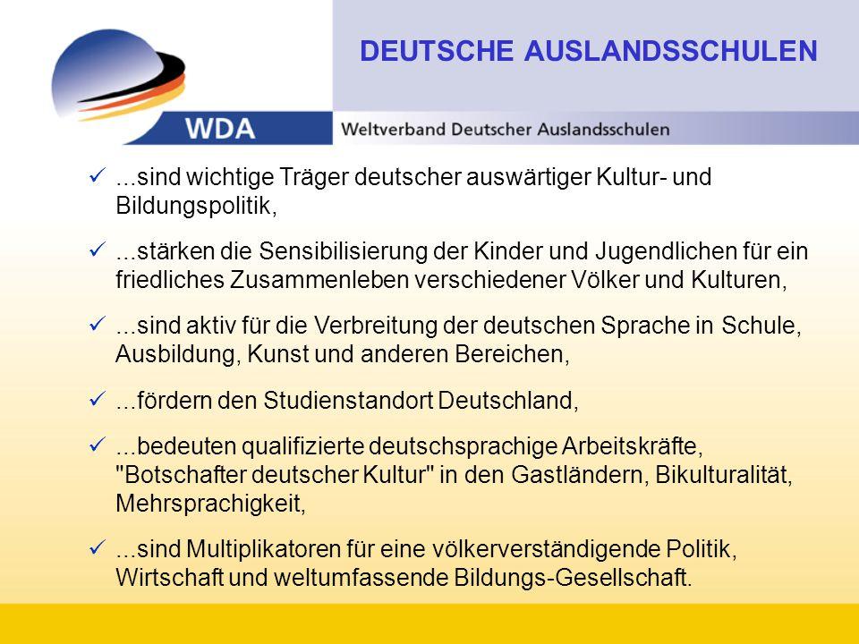 ...sind wichtige Träger deutscher auswärtiger Kultur- und Bildungspolitik,...stärken die Sensibilisierung der Kinder und Jugendlichen für ein friedliches Zusammenleben verschiedener Völker und Kulturen,...sind aktiv für die Verbreitung der deutschen Sprache in Schule, Ausbildung, Kunst und anderen Bereichen,...fördern den Studienstandort Deutschland,...bedeuten qualifizierte deutschsprachige Arbeitskräfte, Botschafter deutscher Kultur in den Gastländern, Bikulturalität, Mehrsprachigkeit,...sind Multiplikatoren für eine völkerverständigende Politik, Wirtschaft und weltumfassende Bildungs-Gesellschaft.