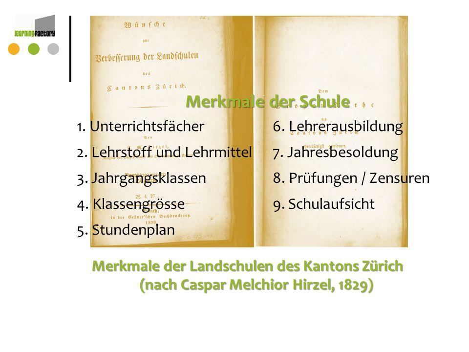 Merkmale der Landschulen des Kantons Zürich (nach Caspar Melchior Hirzel, 1829) Merkmale der Schule 1. Unterrichtsfächer6. Lehrerausbildung 2. Lehrsto