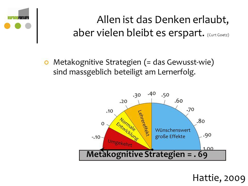 Allen ist das Denken erlaubt, aber vielen bleibt es erspart. (Curt Goetz) Metakognitive Strategien (= das Gewusst-wie) sind massgeblich beteiligt am L