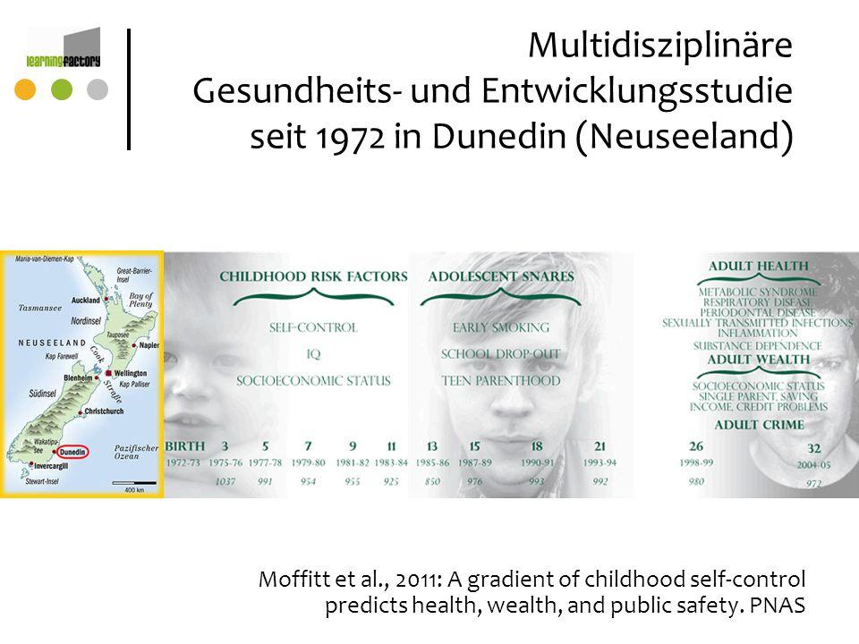 Multidisziplinäre Gesundheits- und Entwicklungsstudie seit 1972 in Dunedin (Neuseeland) Moffitt et al., 2011: A gradient of childhood self-control pre