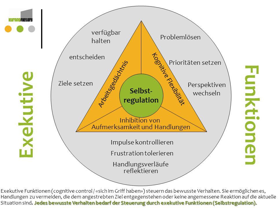 Selbst- regulation Arbeitsgedächtnis Kognitive Flexibilität Inhibition von Aufmerksamkeit und Handlungen Impulse kontrollieren verfügbar halten entsch