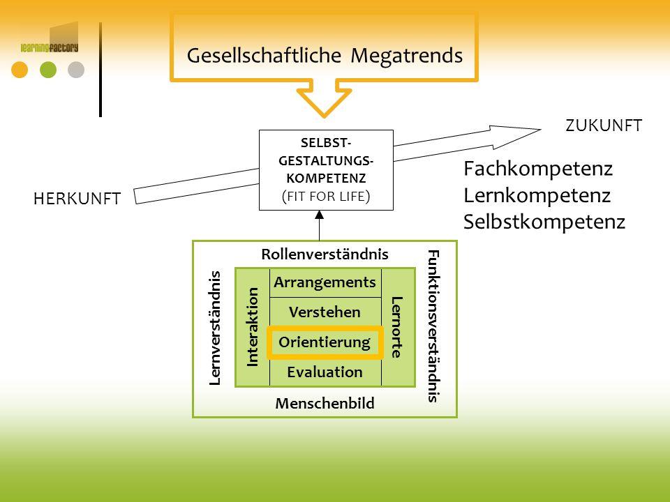 Arrangements Evaluation Verstehen Orientierung Interaktion Lernorte Rollenverständnis Funktionsverständnis Lernverständnis Menschenbild SELBST- GESTAL