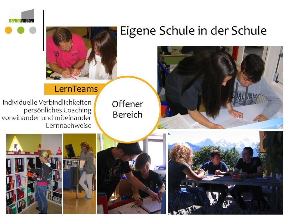 LernTeams Eigene Schule in der Schule individuelle Verbindlichkeiten persönliches Coaching voneinander und miteinander Lernnachweise Offener Bereich