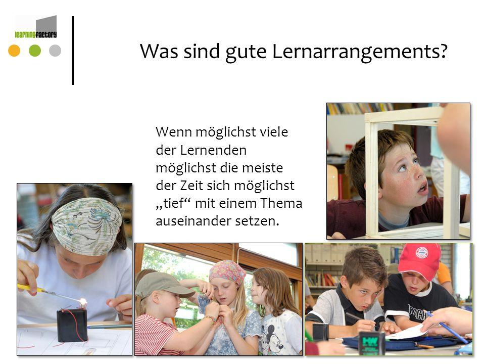 Was sind gute Lernarrangements? Wenn möglichst viele der Lernenden möglichst die meiste der Zeit sich möglichst tief mit einem Thema auseinander setze