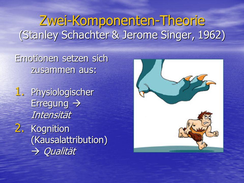 Zwei-Komponenten-Theorie (Stanley Schachter & Jerome Singer, 1962) Emotionen setzen sich zusammen aus: 1. Physiologischer Erregung Intensität 2. Kogni
