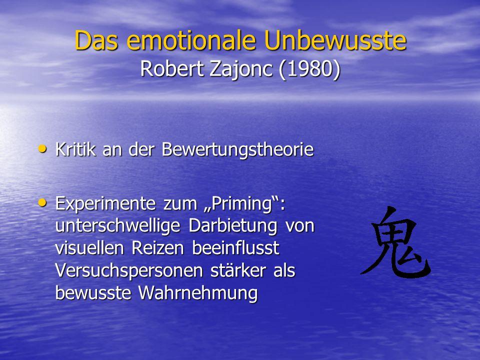 Das emotionale Unbewusste Robert Zajonc (1980) Kritik an der Bewertungstheorie Kritik an der Bewertungstheorie Experimente zum Priming: unterschwellig