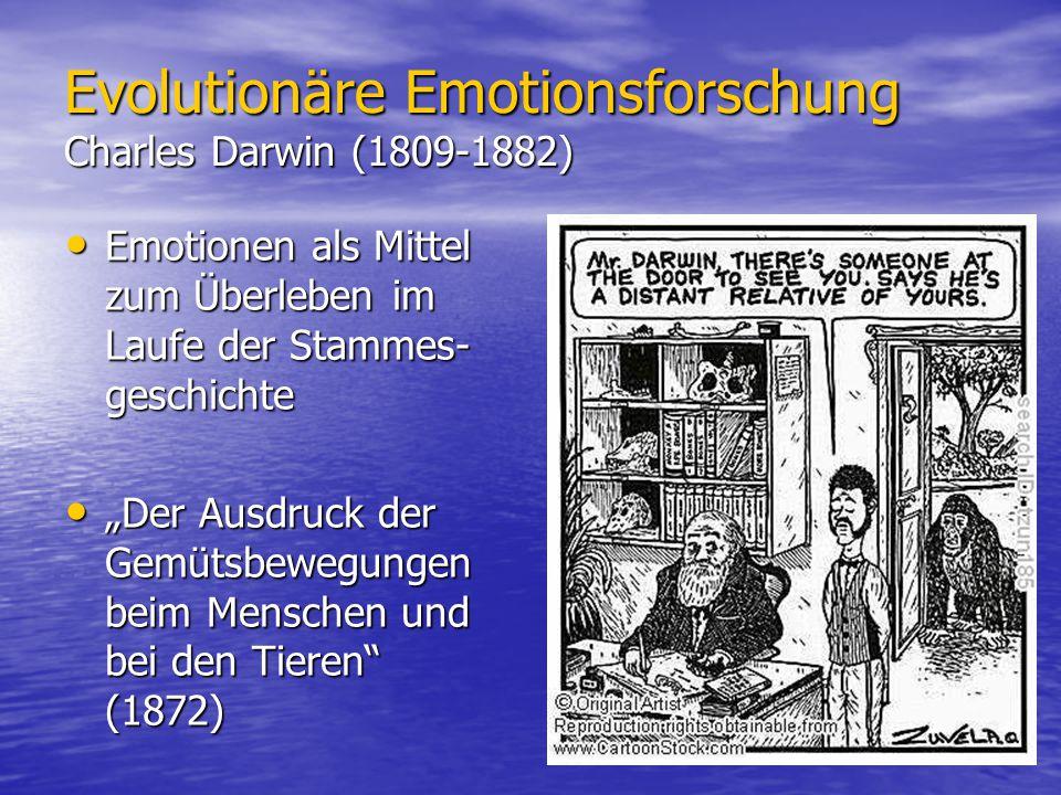 Evolutionäre Emotionsforschung Charles Darwin (1809-1882) Emotionen als Mittel zum Überleben im Laufe der Stammes- geschichte Emotionen als Mittel zum