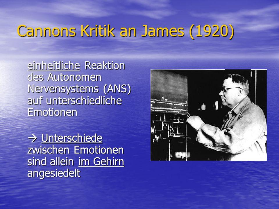 Cannons Kritik an James (1920) einheitliche Reaktion des Autonomen Nervensystems (ANS) auf unterschiedliche Emotionen Unterschiede zwischen Emotionen