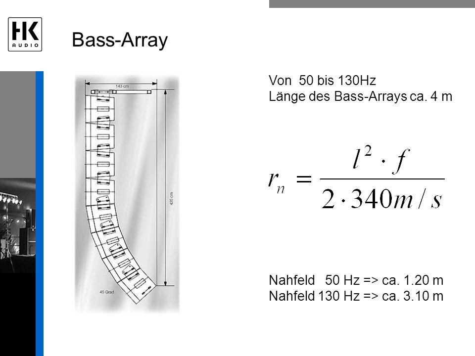 Bass-Array Von 50 bis 130Hz Länge des Bass-Arrays ca. 4 m Nahfeld 50 Hz => ca. 1.20 m Nahfeld 130 Hz => ca. 3.10 m