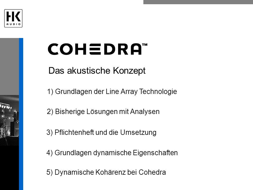 Das akustische Konzept 1) Grundlagen der Line Array Technologie 2) Bisherige Lösungen mit Analysen 3) Pflichtenheft und die Umsetzung 4) Grundlagen dynamische Eigenschaften 5) Dynamische Kohärenz bei Cohedra
