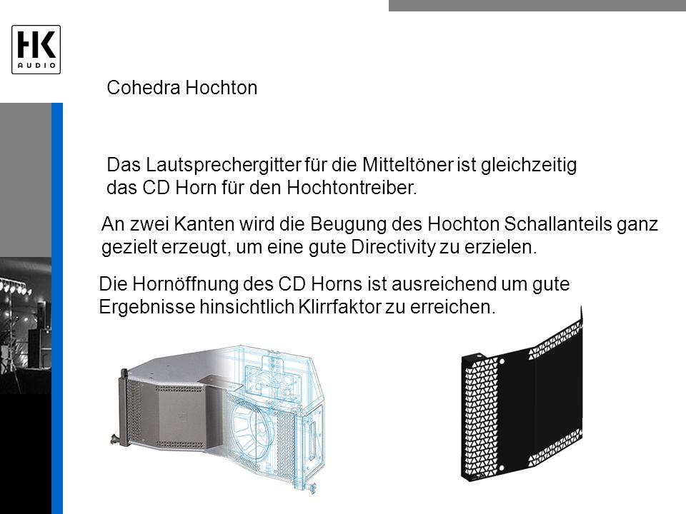 Cohedra Hochton Das Lautsprechergitter für die Mitteltöner ist gleichzeitig das CD Horn für den Hochtontreiber. An zwei Kanten wird die Beugung des Ho