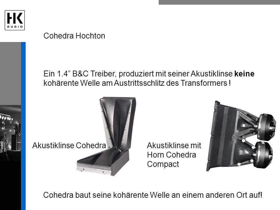 Ein 1.4 B&C Treiber, produziert mit seiner Akustiklinse keine kohärente Welle am Austrittsschlitz des Transformers ! Cohedra Hochton Cohedra baut sein