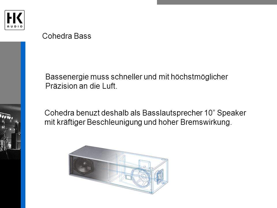 Cohedra benuzt deshalb als Basslautsprecher 10 Speaker mit kräftiger Beschleunigung und hoher Bremswirkung.