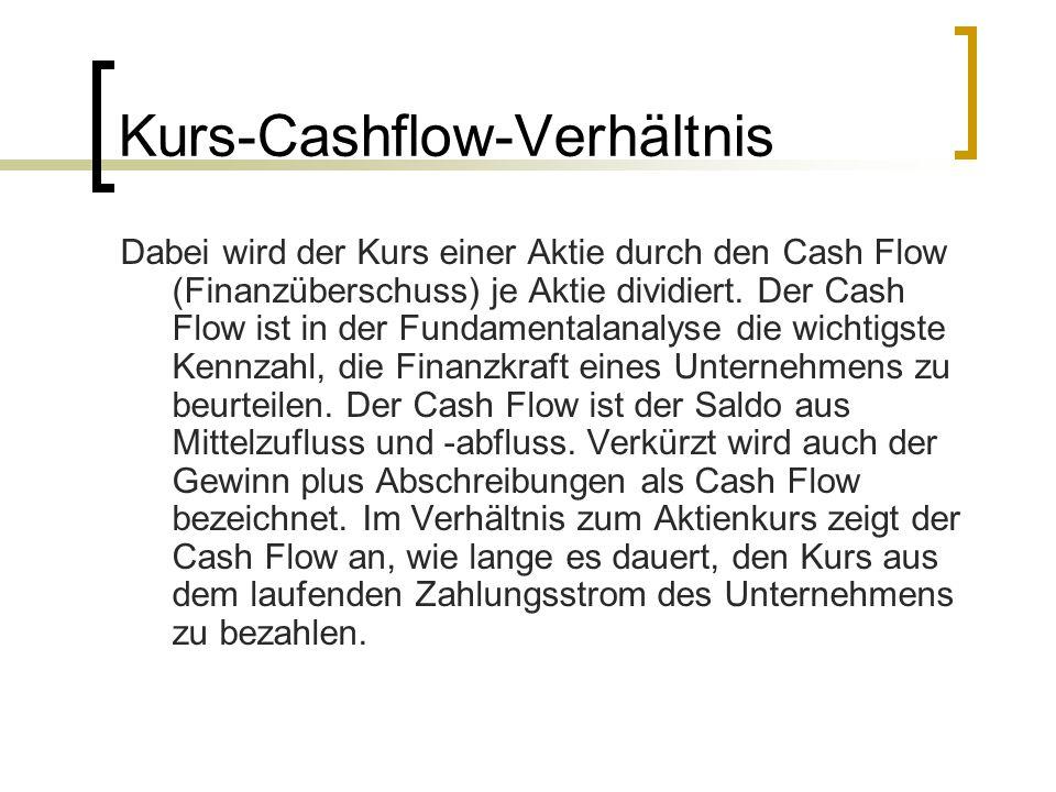 Kurs-Cashflow-Verhältnis Dabei wird der Kurs einer Aktie durch den Cash Flow (Finanzüberschuss) je Aktie dividiert. Der Cash Flow ist in der Fundament