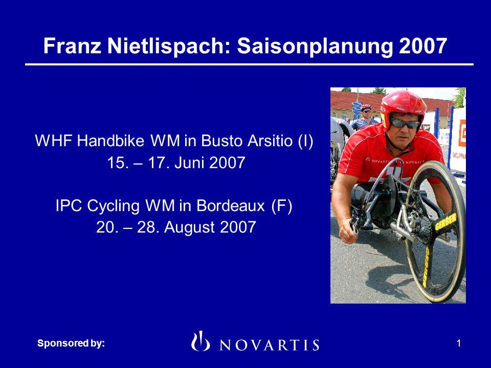 Sponsored by:1 Franz Nietlispach: Saisonplanung 2007 WHF Handbike WM in Busto Arsitio (I) 15.