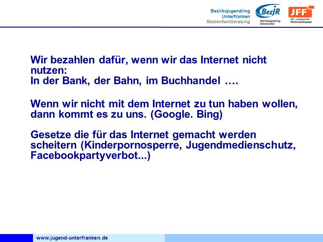 www.jugend-unterfranken.de Bezirksjugendring Unterfranken Medienfachberatung Wir bezahlen dafür, wenn wir das Internet nicht nutzen: In der Bank, der Bahn, im Buchhandel ….