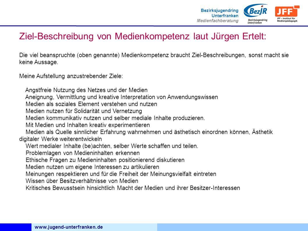 www.jugend-unterfranken.de Bezirksjugendring Unterfranken Medienfachberatung Die viel beanspruchte (oben genannte) Medienkompetenz braucht Ziel-Beschreibungen, sonst macht sie keine Aussage.