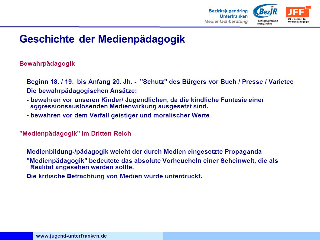 www.jugend-unterfranken.de Bezirksjugendring Unterfranken Medienfachberatung Geschichte der Medienpädagogik Bewahrpädagogik Beginn 18.