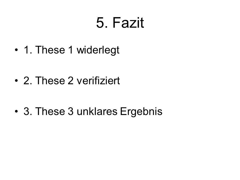 5. Fazit 1. These 1 widerlegt 2. These 2 verifiziert 3. These 3 unklares Ergebnis